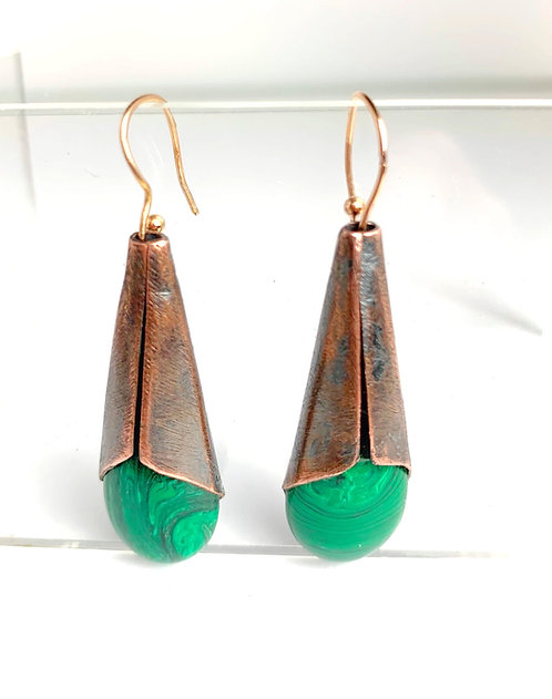 Malachite Green and Copper Earrings