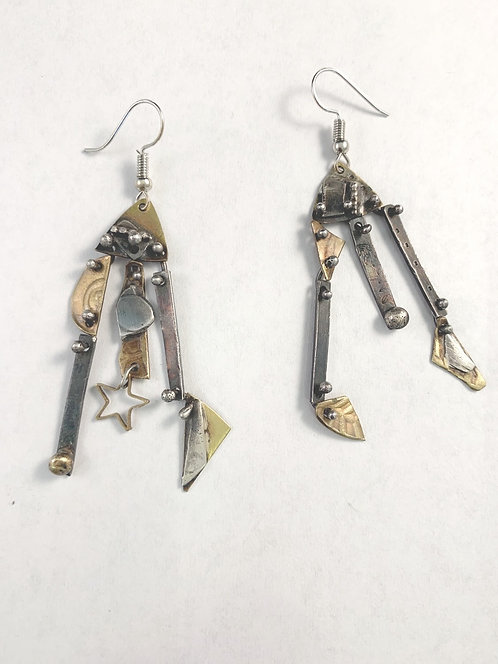 Brass and Silver Earrings