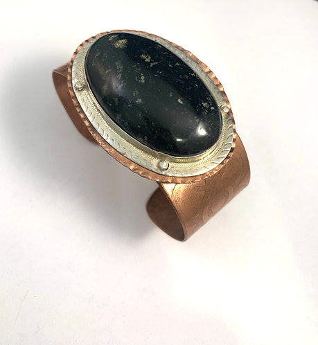 Copper Bracelet with Black agate set in Sterling Silver