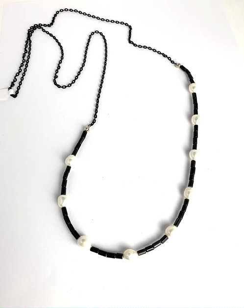 Fresh Water Pearls with Black Onyx Beads