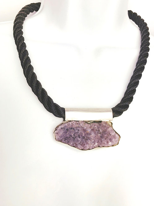 Large Amethyst Druzy set in sterling silver