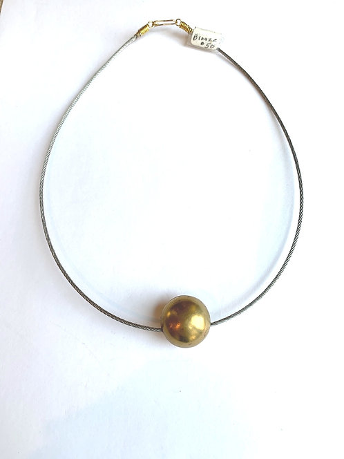 Bronze Ball on Stainless Steel neck wire