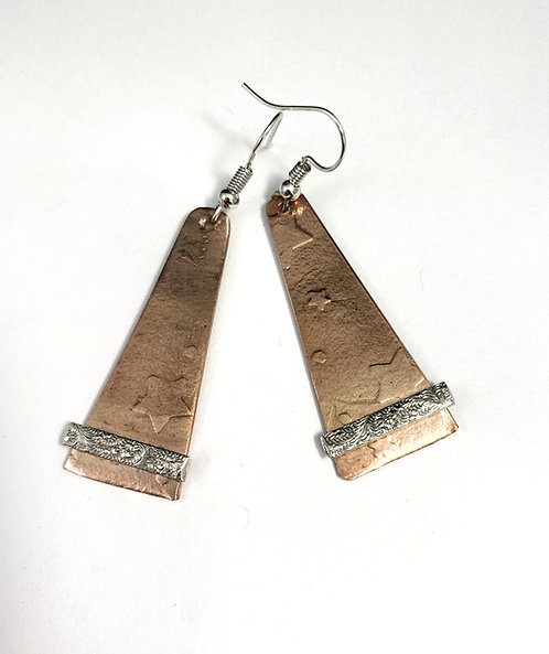 Long Copper and Textured Silver Earrings