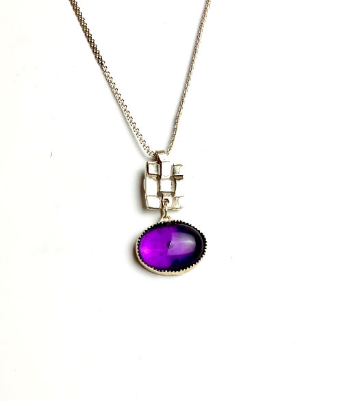 Amethyst With Woven Silver