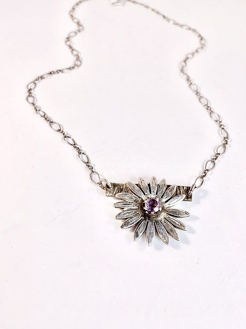 Silver Flower with Amethyst Center