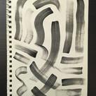 Black acrylic paint, wide brush