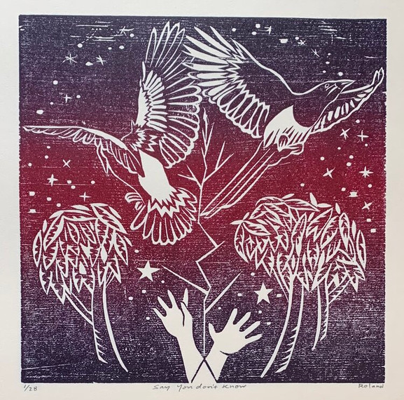 """""""Say You Don't Know"""" by Nathalie Roland Woodcut print. 7""""x7"""" image on 10""""x10"""" paper. Edition of 28."""