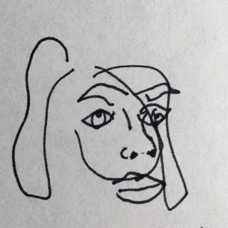 Untitled  blind contour self portrait, ink and paper, 2020