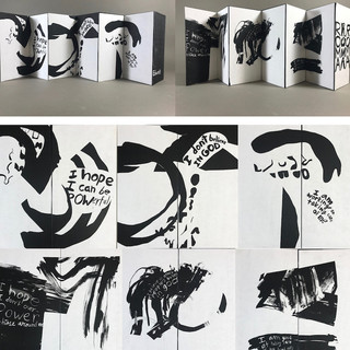 """Untitled  Material: India Ink, paper, black foam core, tape, gouache  Description: This accordion book is an exploration of contrasting styles and messages that address dualities, ambiguities, and curiosities that are at the core of me as an artist. For example, """"I don't believe in God"""" and """"I believe in other people's belief in God."""""""