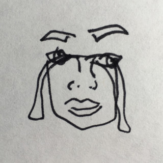 These Are Not My Tears blind contour self portrait, ink and paper, 2020