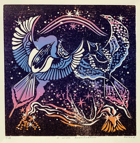 """""""I Wish Reunification"""" by Nathalie Roland Woodcut Reduction Print. 7""""x7"""" image on 10""""x10"""" paper. Edition of 28."""