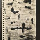 Black acrylic paint, sponge