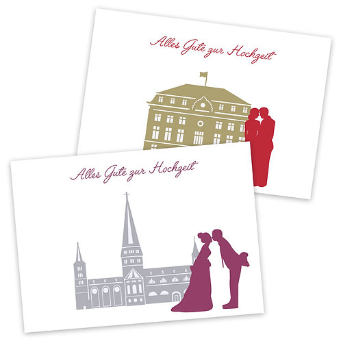 Glückwunschkarte Hochzeit - verschiedene Motive  4-seitig A6 inkl.Hülle