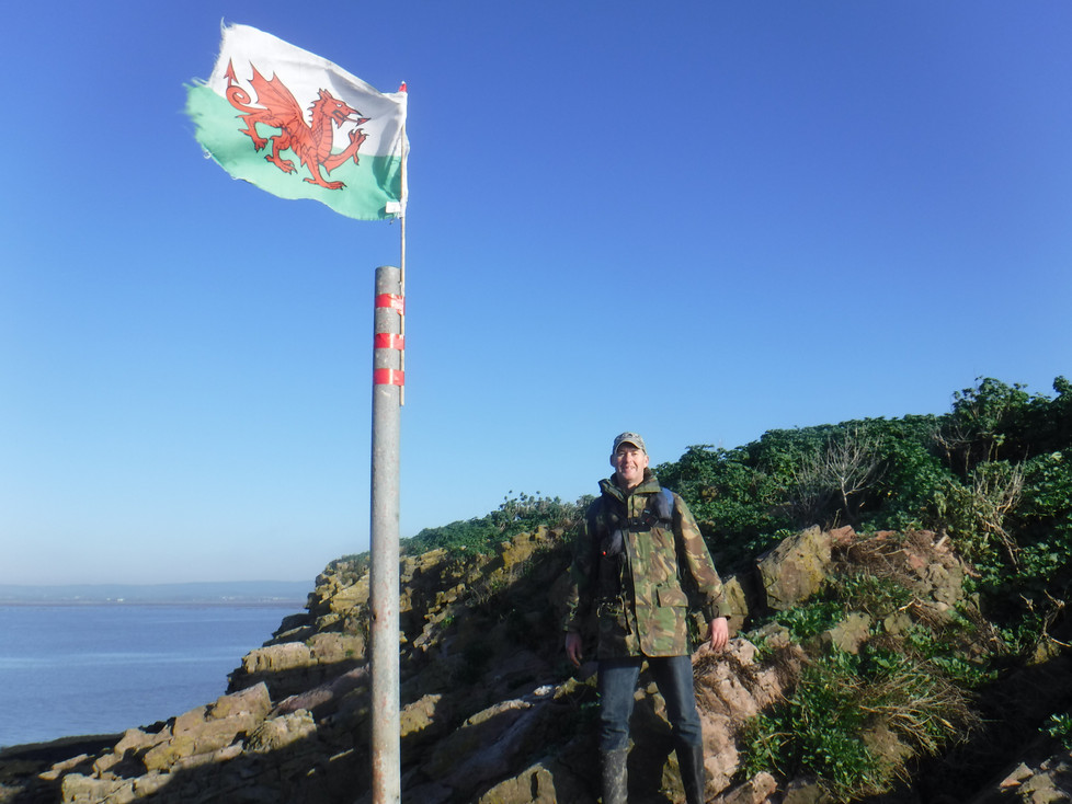 Hoisting the flag on this outpost of Wales !