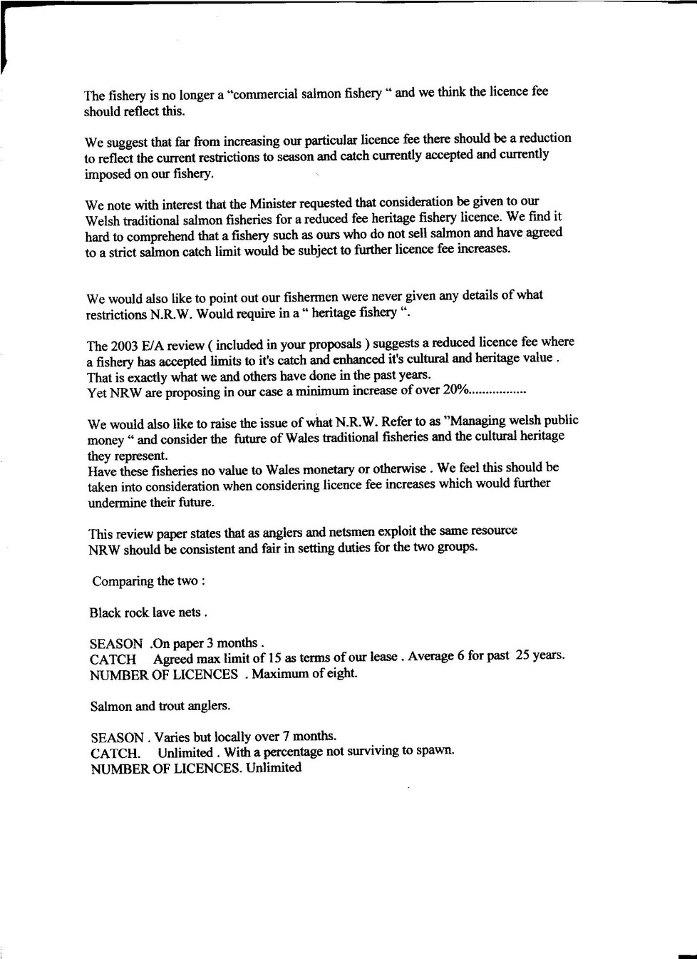 Page 2 of our objection to NRW licence fee increase