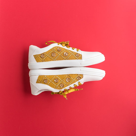 Golden Embroidered Sneakers