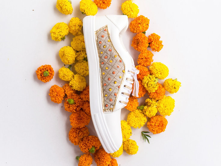 Grey Checks with Yellow Orange Knotted Sneakers