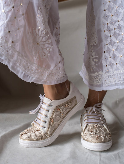 White and Zari Sneakers