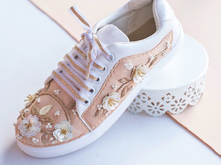 Nude Blush Sneakers with White