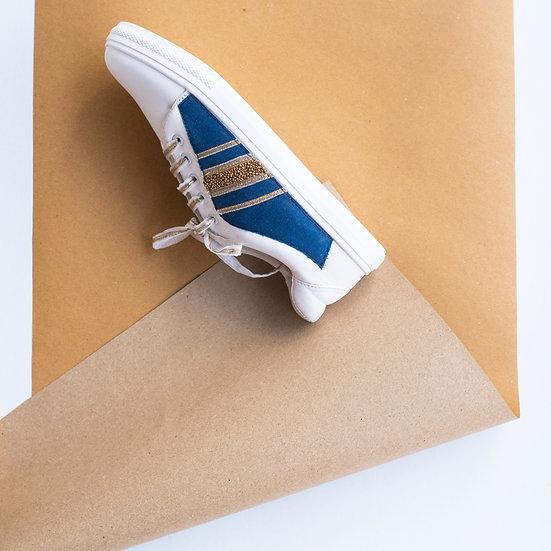 Denim Blue with Gota Lines