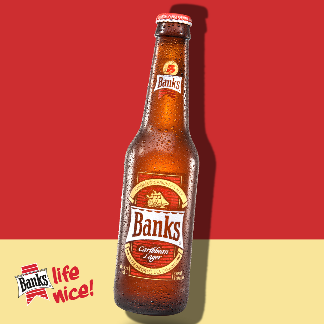 Banks Lager. Authentically brewed in Barbados