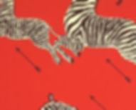 zebra, zebras, red, scalamandre, wallcovering
