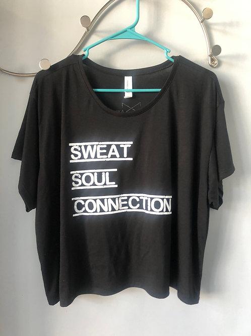 """""""Sweat Soul Connection"""" BreakAway Yoga Flowy Top (Black)"""