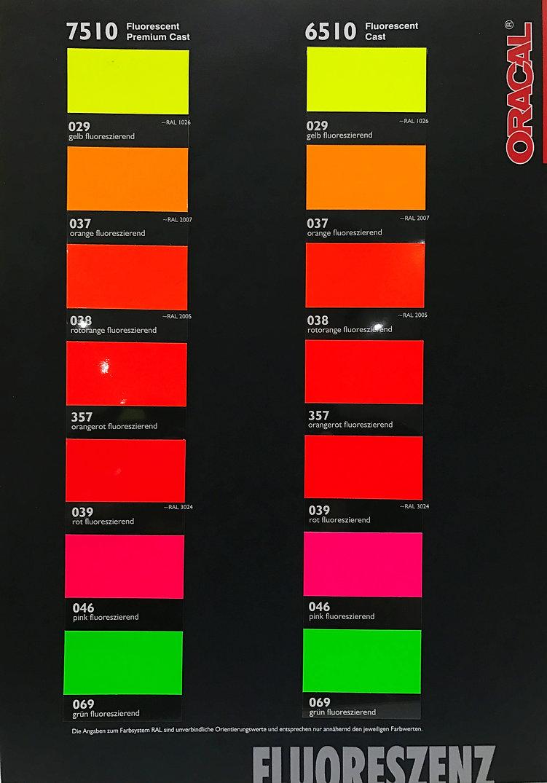 Farbkarte Oracal 7510 / 6510 Fluorescent