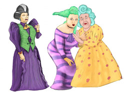 Countess Von Strudel (Emma Dennett) and the Ugly Sisters (Sally Mathias and Phil Loveless)