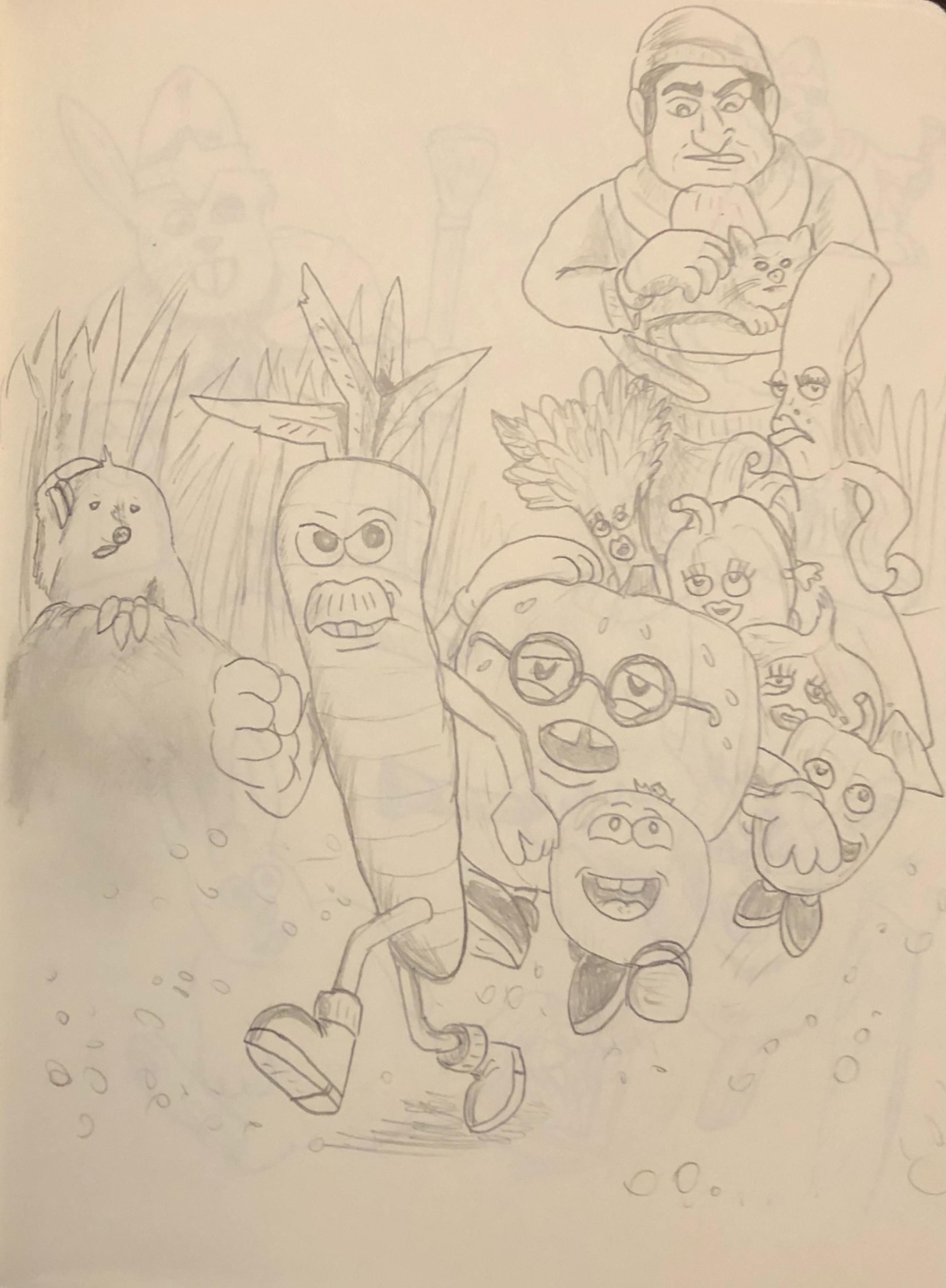 The original sketch drawing of Veggie Ru