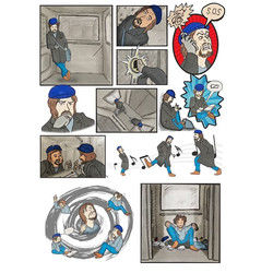Stuck in a lift_comic strip style