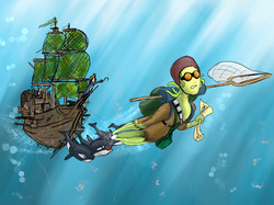 Concept artwork of Octowoman and the Mermaid Pirate Ship