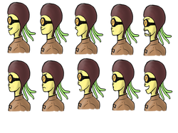 'Octowoman' facial expressions (side)
