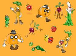 Veggie Rush fabrics (orange)
