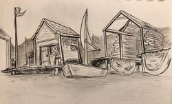 The Fisherman's Hut (black and white)