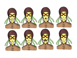 'Octowoman' facial expressions (colour)