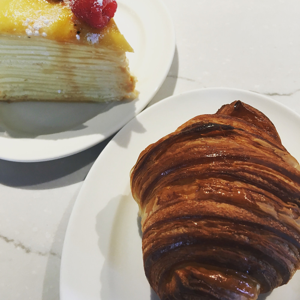 croissant and crepe cake from Bellecour