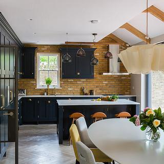 Dark blue bespoke kitchen design Ealing