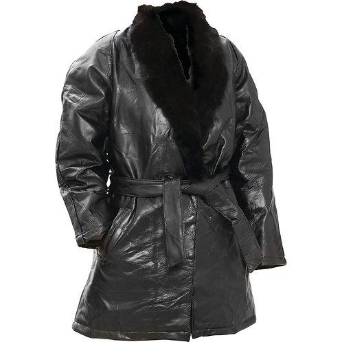 Genuine Leather Coat with Rabbit Fur Collar