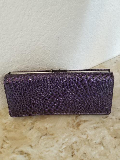 Pre-owned Purple Lizard Skinned Wallet Purse