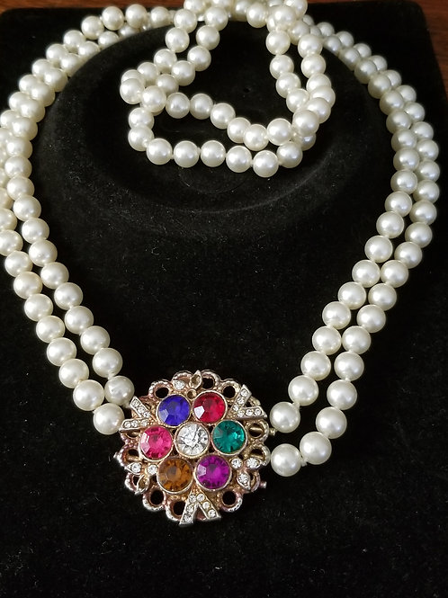 Pre-owned Jeweled Pearl Necklace