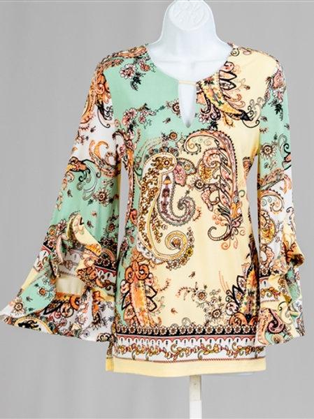 New. Paisley Bell Sleeve Print Blouse