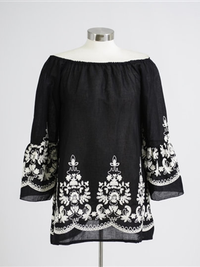 New. Light Cotton Embroidery Trim Blouse