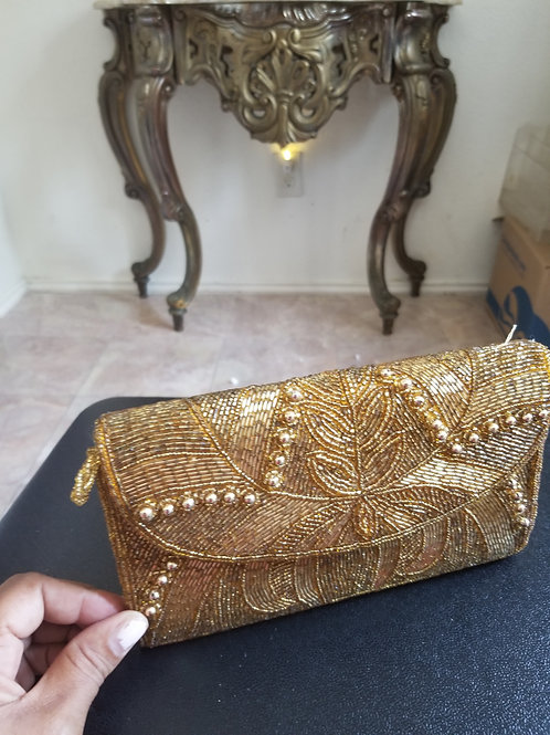 Preowned-Gold Beaded Clutch Purse