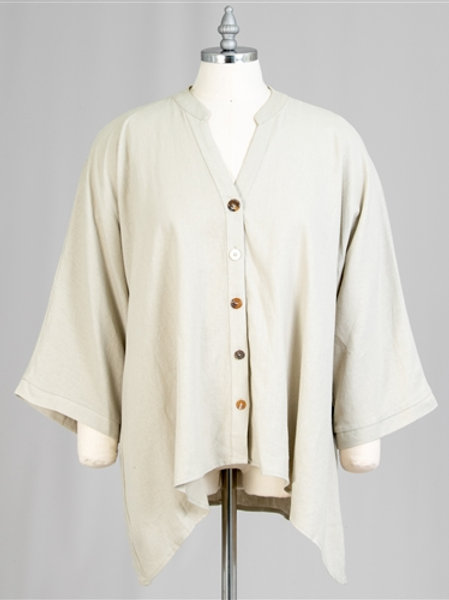 NEW. High-low front button Linen Top Plus Size