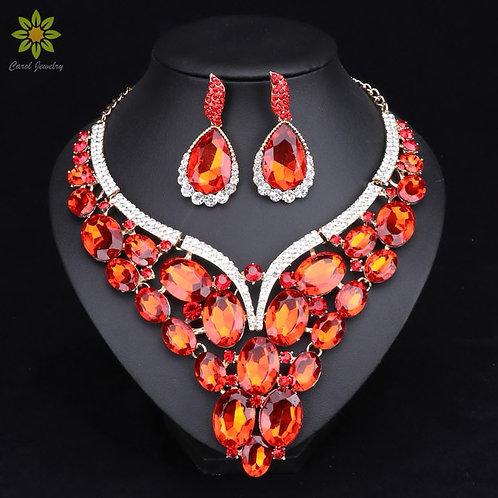 New: Teardrop Rhinestone & Crystal with Matching Earrings
