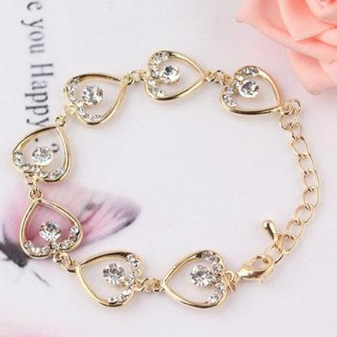 Rhinestone Heart Shape Gold Finish Bracelet