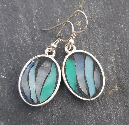 BO pendantes ovales Bleu