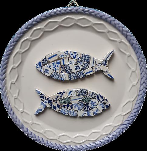 Kit mosaïque sardines sur cadre d'assiette ancienne
