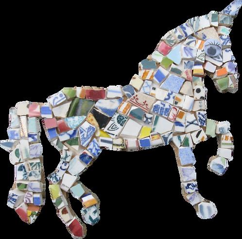 kit mosaique ecologique en forme de licorne cheval